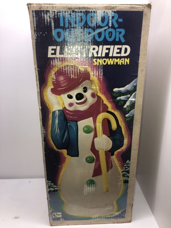 "Vtg Empire 34"" Hobo Clown Snowman w/ Derby Blow Mold~Lighted~w/Box"