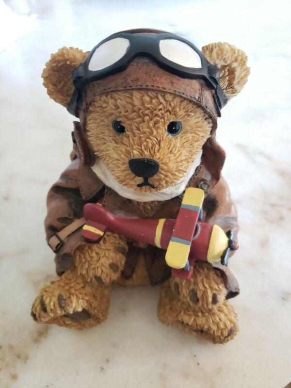 Vintage Brown  Teddy Bear Pilot Aviator Goggles Airplane Resin  Piggy Bank