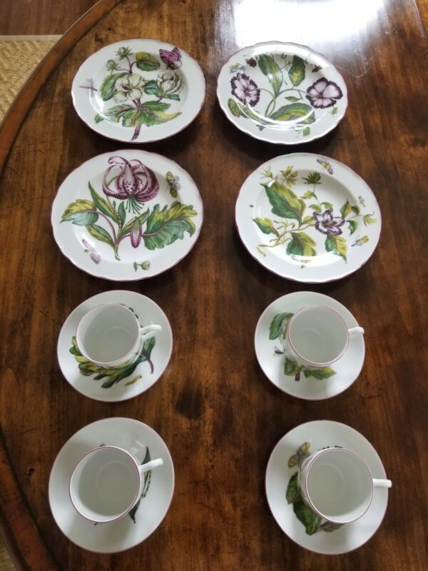 Mottahedeh Chelsea Botanical Salad Dessert Plates  and Cups / Saucers