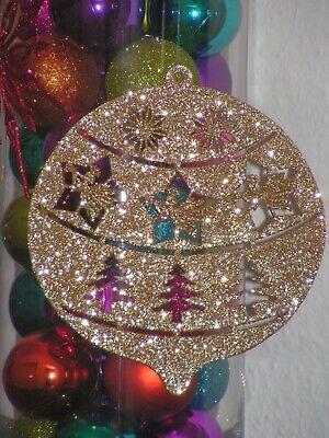 Weihnachtskugel XL Hänger Gold Engel Sterne Glitzer 18cm