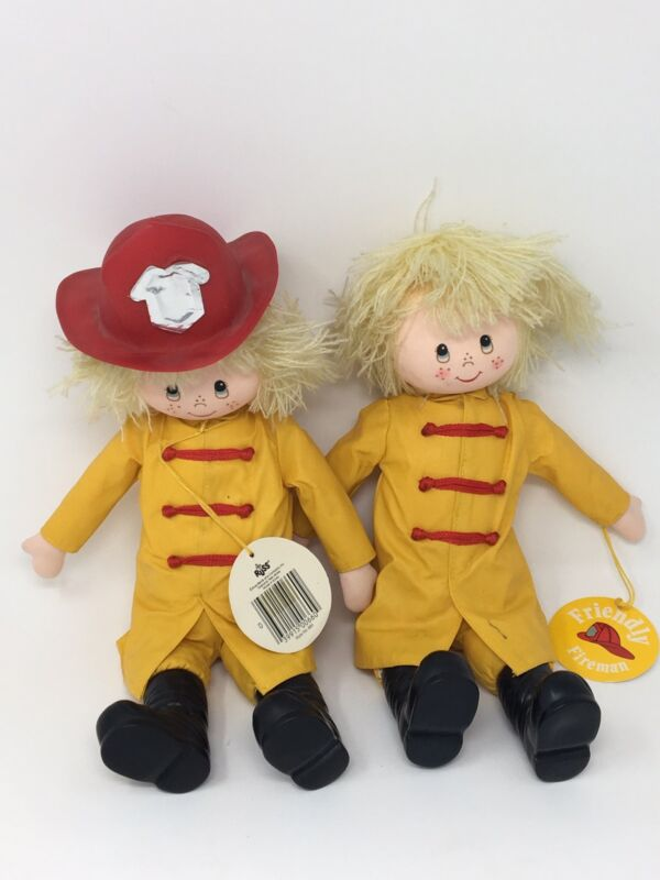 Russ Berrie Friendly Fireman Firefighter Dolls NWT 12""