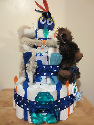 DELUXE DIAPER CAKE FOR BABY BOY OR GIRL MADE WITH 50 DIAPERS 3 TIER