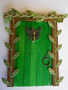 Wooden Fairy Door - Secret Garden - Green Leaf Vines Prestons Liverpool Area Preview
