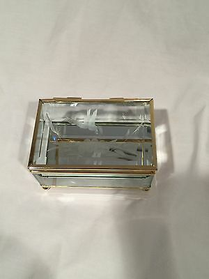 Clear Glass Edged Gold Rectangular Hinged Jewelry Trinket (Clear Glass Box)
