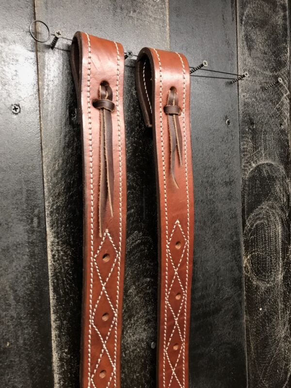 Rear Billet (Flank Strap) Set- Medium Oil -Harness Leather Double Stitched