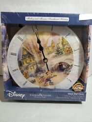 DISNEY~MICKEY & MINNIE Sweetheart Holiday XMAS~THOMAS KINKADE~ WALL CLOCK *BB