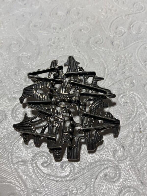 Norway Studio Else & Paul Pin Pendant Brutalist 925S Sterling Modernist Vintage