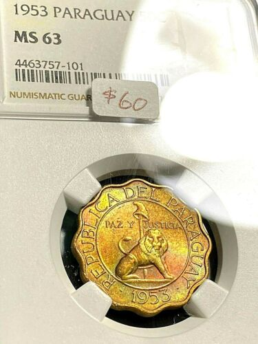 1953 Paraguay 50 Centavos NGC MS63 Awesome Color CHN