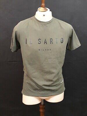 Il Sarto Crew Neck T Shirt - Size M - Khaki Green - 100% Cotton - Large Logo