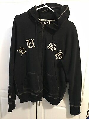 RUSH Band 1977 Vintage Tour Hooded Zip Sweatshirt Size M Flawed