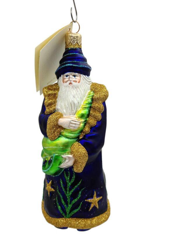 Patricia Breen Poseidon Santa Deep Sea Blue Christmas Tree Holiday Ornament