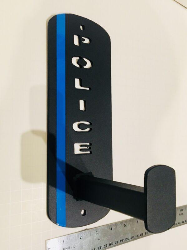 Police Wall Mount Gear Rack , Duty belt holder, blueline