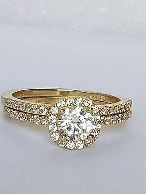 Gold Wedding Band Set - 1.7 C 14K yellow Gold 2 piece round Halo  Engagement Wedding band Ring Set s 6.5
