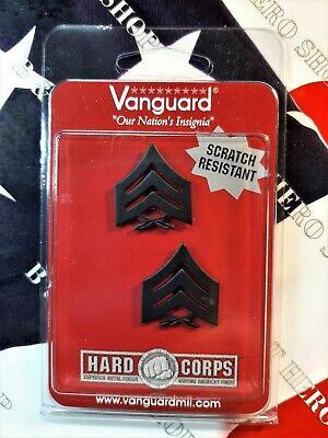 USMC Marine Corps Rank Insignia Black Metal Chevron Sergeant Collar Device Metal Collar Device