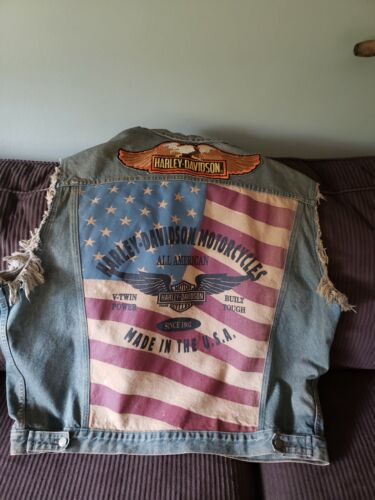 Vintage Harley Davidson Motorcycle Mens 2XL Jean Vest Blue Denim US Flag Patches