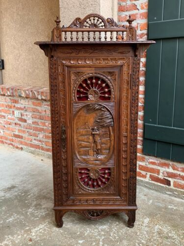 19th century Antique French Carved Oak Confiturier Cabinet Bookcase Brittany