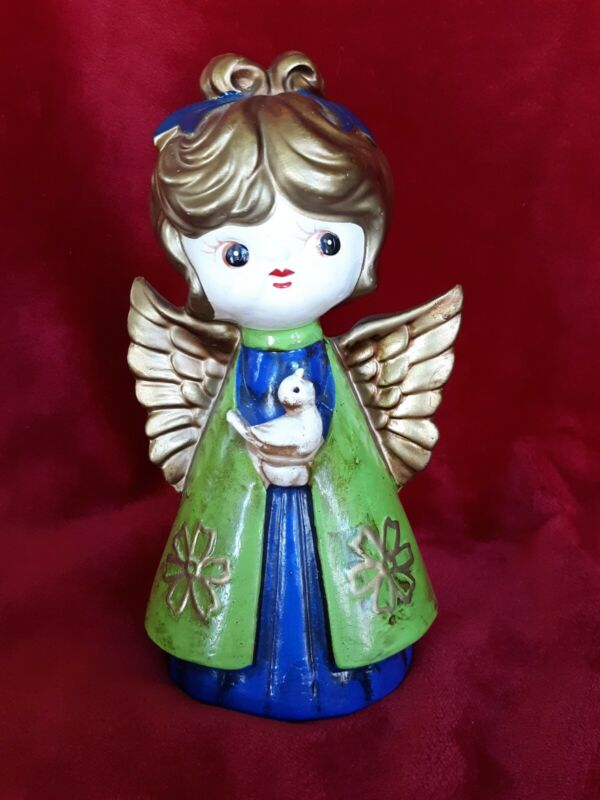 Vintage Christmas Holt Howard Paper Mache Peace Angel Green And Blue