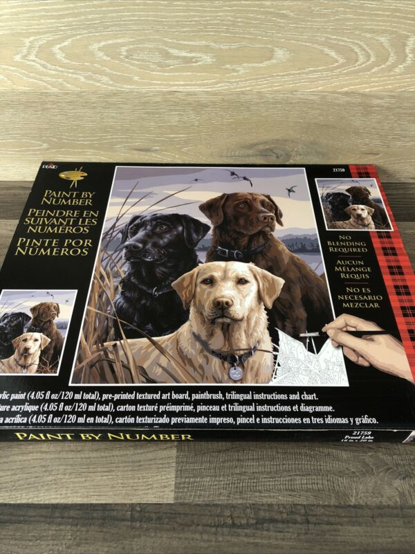 """PLAID Paint By Number 20 X 16  """"Proud Labs"""" 21759 NEW Labrador Dogs Painting Art"""