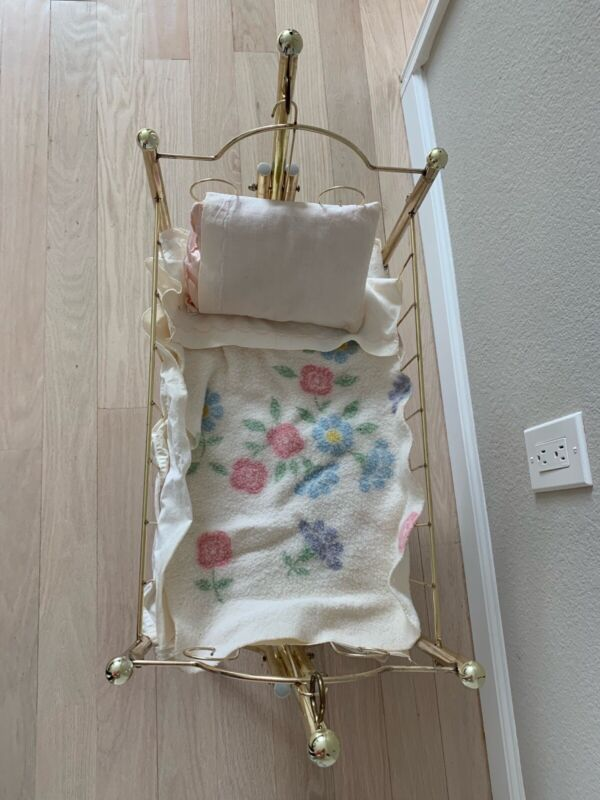 Brass Doll Cradle Bed with Unique Vintage Antique Handmade Bedding