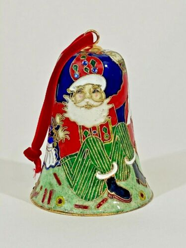 2006 Cloisonne Santa Claus Bell w Red Ribbon for Hanging
