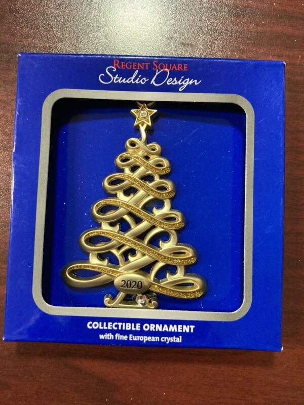 "2020 Christmas Ornament, Gold Swirl Tree, 3"" x 2"", Regent Square, Studio Design"