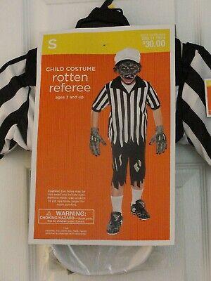 Kids Referee Shirt Halloween Costume (Zombie Rotten Referee Halloween Costume Child Sm NWT Shirt Pants Hat Mask)