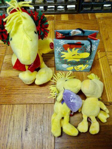 3 Peanuts Woodstock Plush Toys & Giftbag