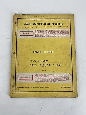 March Manufactured Products Parts List Roll Off Uru-60-22 Tan