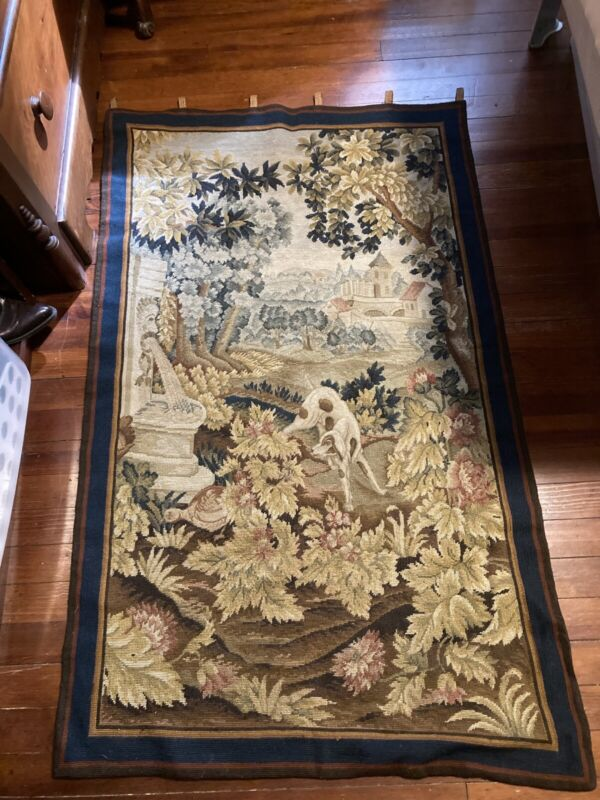 Antique Vintage Wool woven needlepoint French tapestry wall hanging Dog Bird