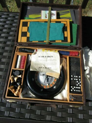 VINTAGE ROULETTE, CHESS, CHECKERS, DOMINOS, BACKGAMMON GAME SET BY ROTTGAMES N.Y