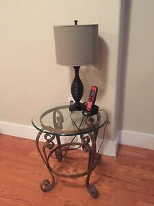 Glass top wrought iron end table
