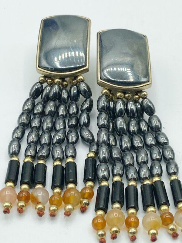 Vtg Hematite & Glass Stones Bead Earrings Pierced Dangle Runway Statement