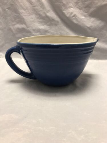 Uhl Pottery Blue B-8 Batter Bowl Stamped & Numbered on the Bottom