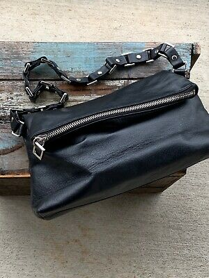 Fold-over Satchel (Wilsons Leather Maxima Fold Over Chain Stud Small Satchel Handbag Bag Black)