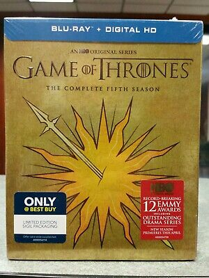Game of Thrones Fifth Season 5 NEW Martell Slipcover Blu-ray Best Buy Digital