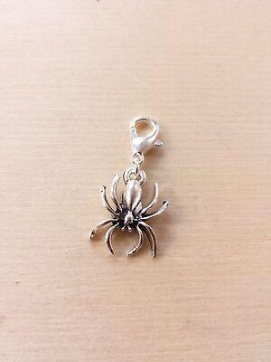 Spinnen Anhänger mit Karabiner * Halloween * Schmuck Basteln Deko Charms Silber