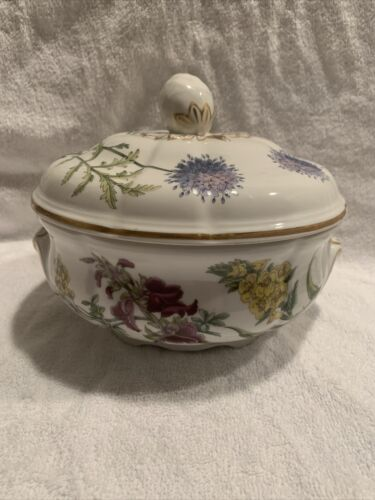 Vtg Spode Stafford Flowers Alyssum Cenothera Serapias Covered Bowl 9 EUC - $20.00