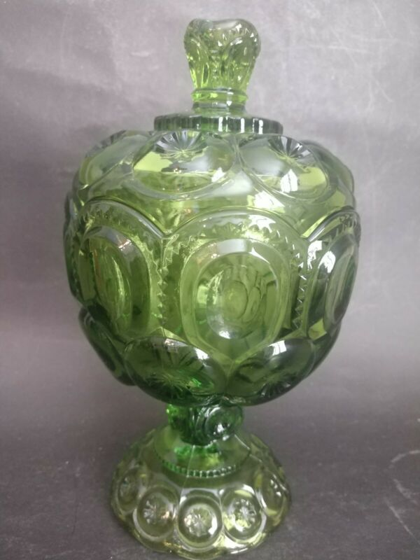 Vintage Moon And Stars LE Smith Emerald Green Compote With Lid