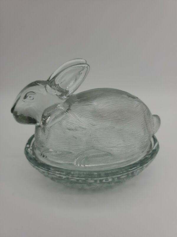 Bunny  L.E. Smith Clear Glass Lidded Candy Change Ring Trinket Dish Vintage 5x4