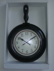 Frying Pan Skillet Black Kitchen Wall Clock 10.23x14.96 Kitchen Home Decor