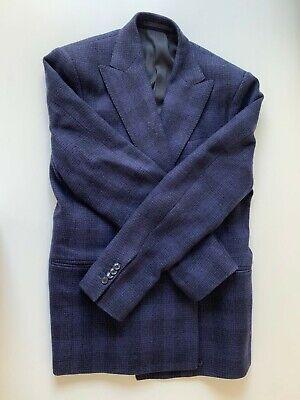 38R Men MP Massimo Piombo Dark Blue Black Check Double Breasted Wool Blazer 2x2