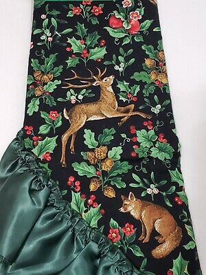 """Christmas Tree Skirt / Round Table Cover 48"""" Holly Berry Deer Black Green New"""