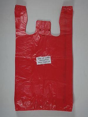 1000 Qty. Red Plastic T-shirt Retail Shopping Bags W Handles 11.5 X 6 X 21