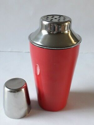 Retro Red Cocktail Shaker. Stainless Steel & Enamel Coating -
