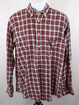 Nautica Mens Large Red Check Long Sleeve Button Down Casual Shirt B88