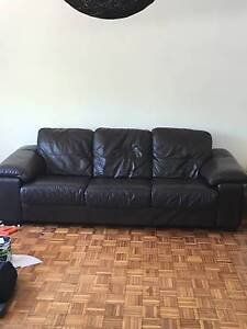 BROWN LEATHER 3 SEATER SOFA Rose Bay Eastern Suburbs Preview