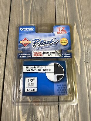 Brother P-touch Tz-231 Durable Laminated Tape 12 Black Print On White Tape