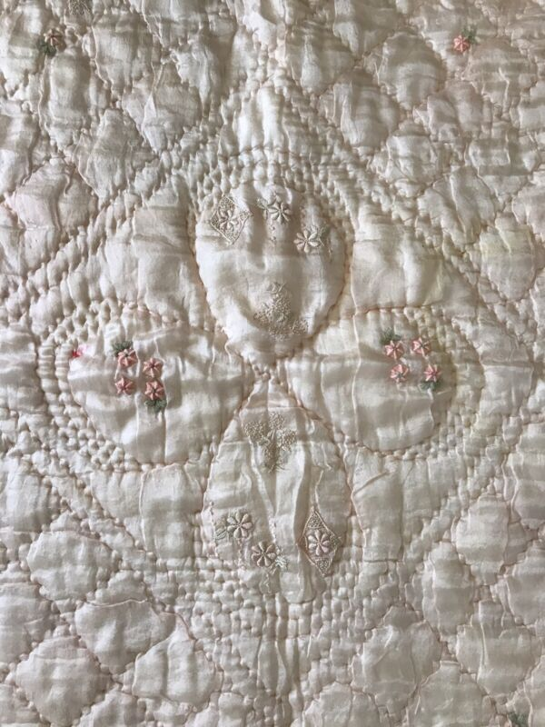 Antique French Broderie Lap, Baby Quilt, Embroider Silk, BEAUTIFUL! Pink