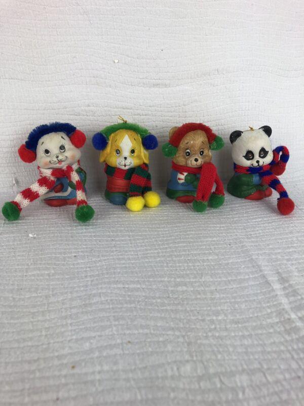 Four Bisque Porcelain Snow Bells Animals Vintage Giftco Knit Hats Scarves Fun