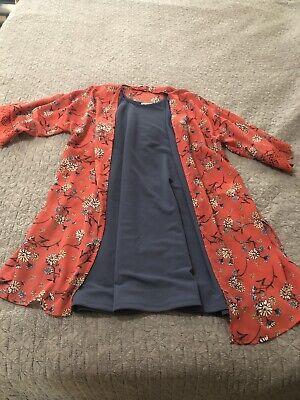 Wallflower Dress Size M (2 Piece set) Dress & Sheer Kimono! Blue & Coral 2 Piece Blue Dress